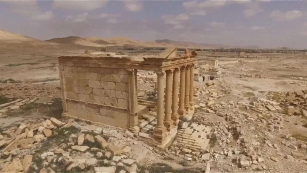 L'un des nombreux temples de la cité, encore debout (image d'un drone russe).