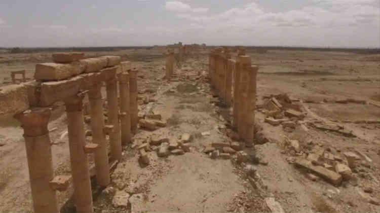 La cité a construit ses principaux monuments à l'époque romaine, entre le Ier et le IIIe siècle de notre ère (image d'un drone russe).
