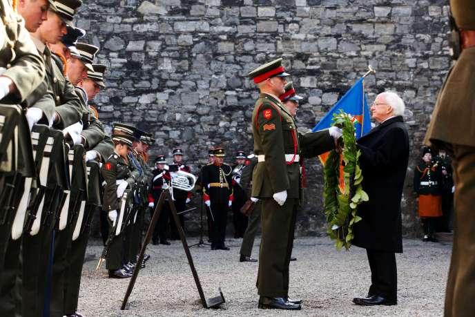 Le président irlandais Michael D. Higgins  dimanche 27 mars à Dublin lors des cérémonies de commémoration du centenaire de l'indépendance irlandaise.