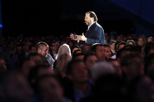 Marc Benioff, le PDG de l'éditeur de logiciels Salesforce, lors de l'évènement annuel de Dreamforce à San Francisco, Californie, le 19 septembre 2012.