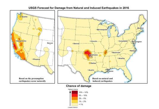 La carte de l'USGS, qui indique tous les séismes, naturels et résultant de la fracturation, survenus entre 1980 et 2015 dont la magnitude était égale ou supérieure à 2,5 sur l'échelle ouverte de Richter.