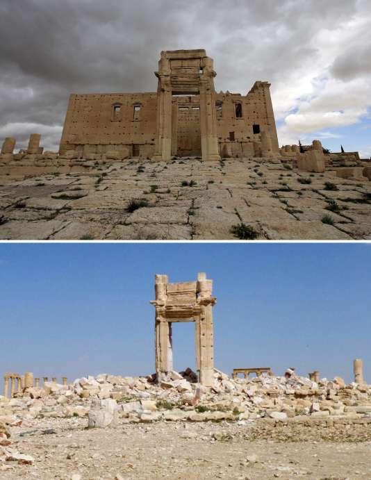 Le temple de Bêl, à Palmyre. En haut, en 2014, avant sa destruction par l'Etat islamique. En bas, le 27 mars, après la reprise de la ville par l'armée syrienne.