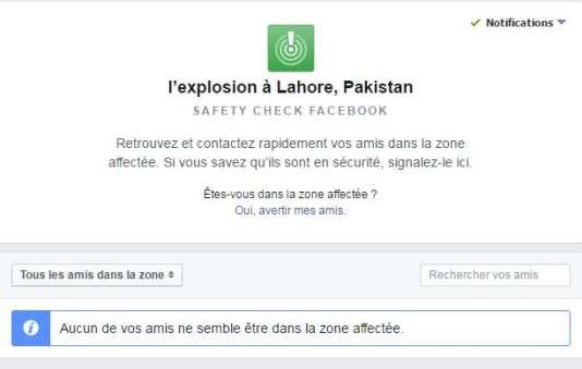 """La page d'accueil du """"Safety Check"""" de Facebook après l'attentat de Lahore."""