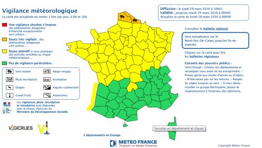 Carte de vigilance de Météo France de lundi 28 mars 2016.