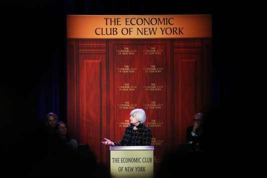 La présidente de la Réserve fédérale américaine, Janet Yellen, lors d'un discours devant l'Economic Club of New York, le 29 mars.