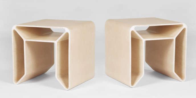 Bouts de canapé en fibre de verre, collection Cellae de François Bauchet, Galerie Kreo.