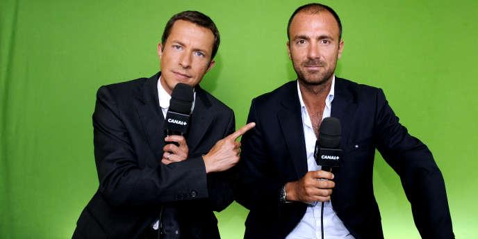 Grégoire Margotton, à gauche, avec Christophe Dugarry.