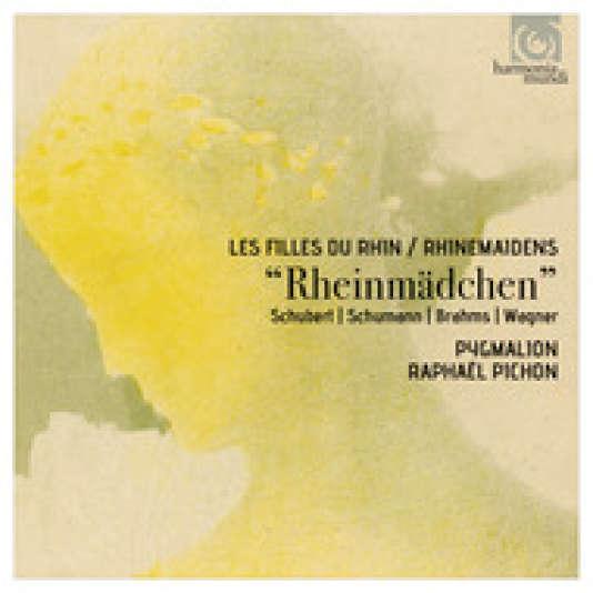Pochette de l'album «Rheinmädchen», œuvres de Schubert, Schumann, Brahms et Wagner, par Barbara Fink (mezzo), Emmanuel Ceysson (harpe), l'ensemble Pygmalion, Raphaël Pichon (direction).