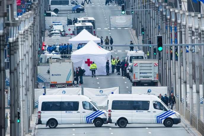 La rue de la Loi, à Bruxelles, avait été évacuée après l'explosion à la station Maelbeek, le 22 mars.