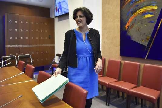 Myriam El Khomri à son arrivée à la commission des affaires sociales de l'Assemblée, le 29 mars.