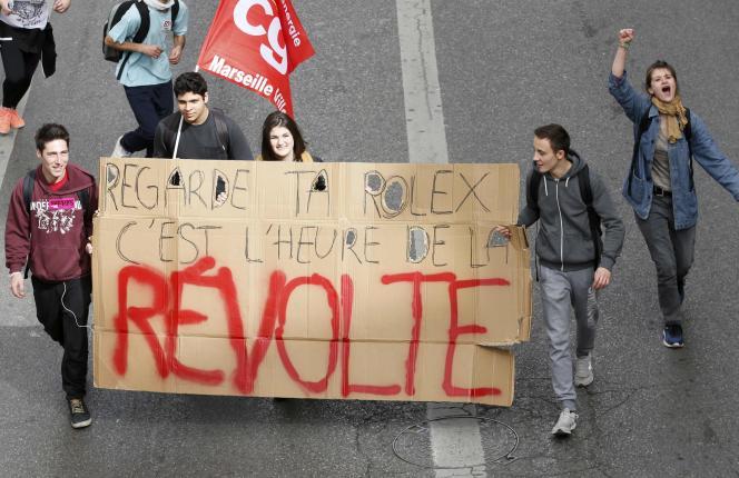 Manifestation contre la loi travail, jeudi 31 mars à Marseille.  REUTERS/Jean-Paul Pelissier