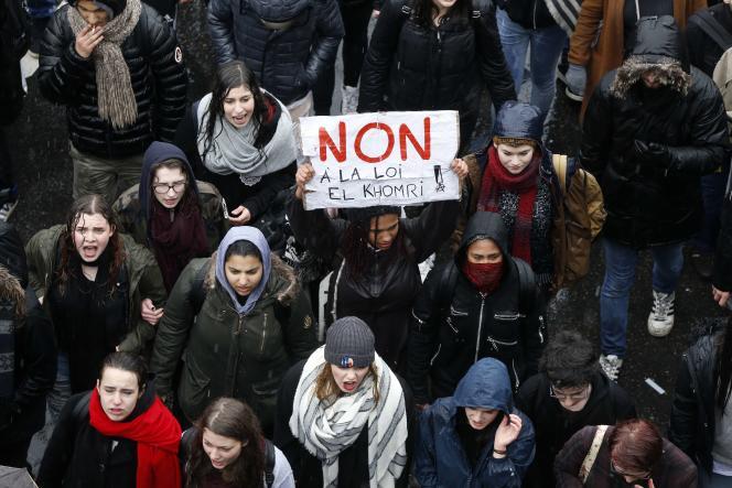 Lors de la manifestation contre la loi travail, à Paris le 31 mars.