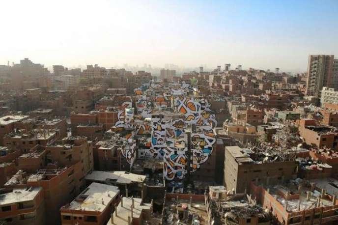 « Perception », anamorphose du graffeur français El Seed au Caire.