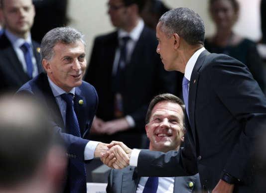 Le président argentin Maurico Macri, le premier ministre hollandais Mark Rutte et le président américain Barack Obama, à Washington, le 1er avril.