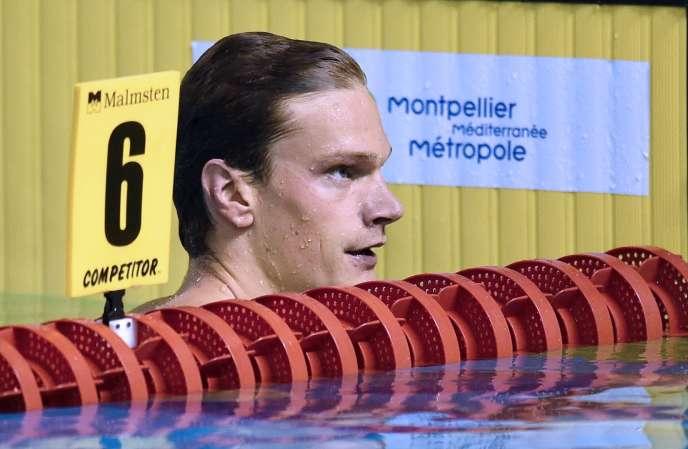 Yannick Agnel, le 1er avril 2016 à Montpellier, lors des championnats de France.