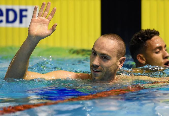 Jérémy Stravius, champion de France du 100 m nage libre à Montpellier en 2016.
