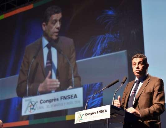 Xavier Beulin, le président de la FNSEA, le 1er avril, à Laval, lors du congrès annuel du premier syndicat agricole français.