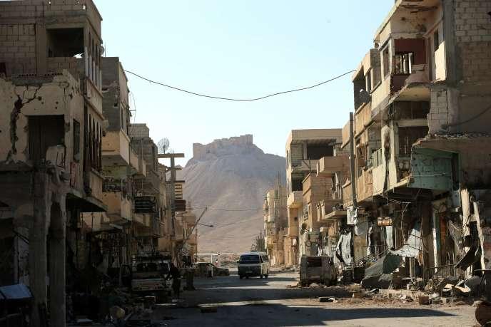 Une rue de Palmyre, le 31 mars 2016.
