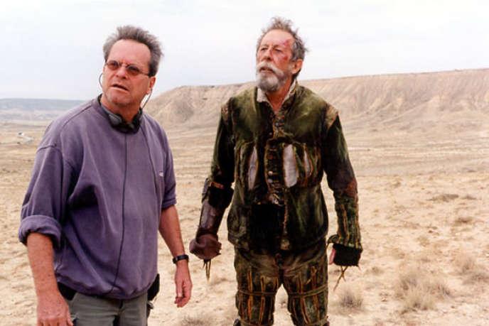 Terry Gilliam et Jean Rochefort sur le tournage de