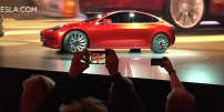 Le Model 3, présenté à Hawthorne, en Californie, le 31 mars 2016