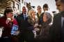 Marine Le Pen en campagne pour les départementales, en mars2015, à Doullens (Somme).