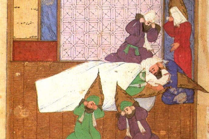 Extrait d'une miniature sur le Prophète à l'agonie, reproduite sur la couverture du livre d'Héla Ouardi chez Albin Michel