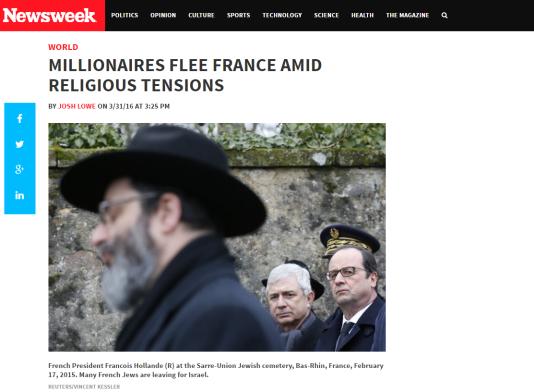 «Newsweek» illustre son article «Lesmillionnaires quittent la France en pleine montée des tensions religieuses» avec une photo de François Hollande dans un cimetière juif dans le Bas-Rhin (aucune mention de la communauté juive n'est faite dans l'étude).