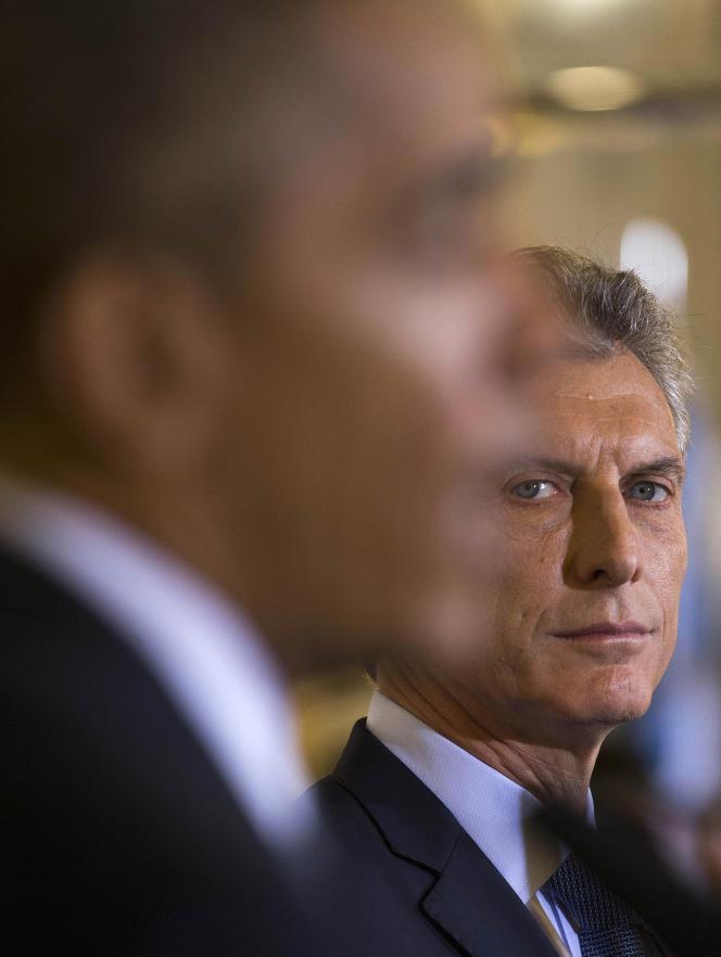 Le président argentin, Mauricio Macri, lors d'une conférence de presse avec son homologue américain, Barack Obama, à Buenos Aires, le 23 mars.