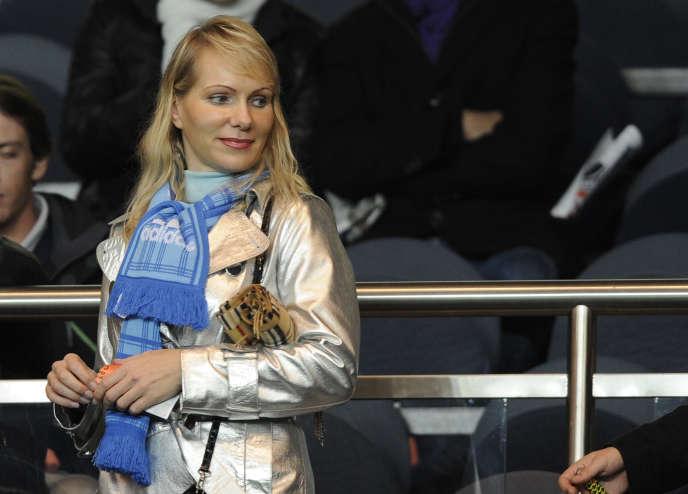 Margarita Louis-Dreyfus, veuve de Robert Louis-Dreyfus et propriétaire de l'Olympique de Marseille, au Parc des Princes, à Paris le 7 novembre 2010.