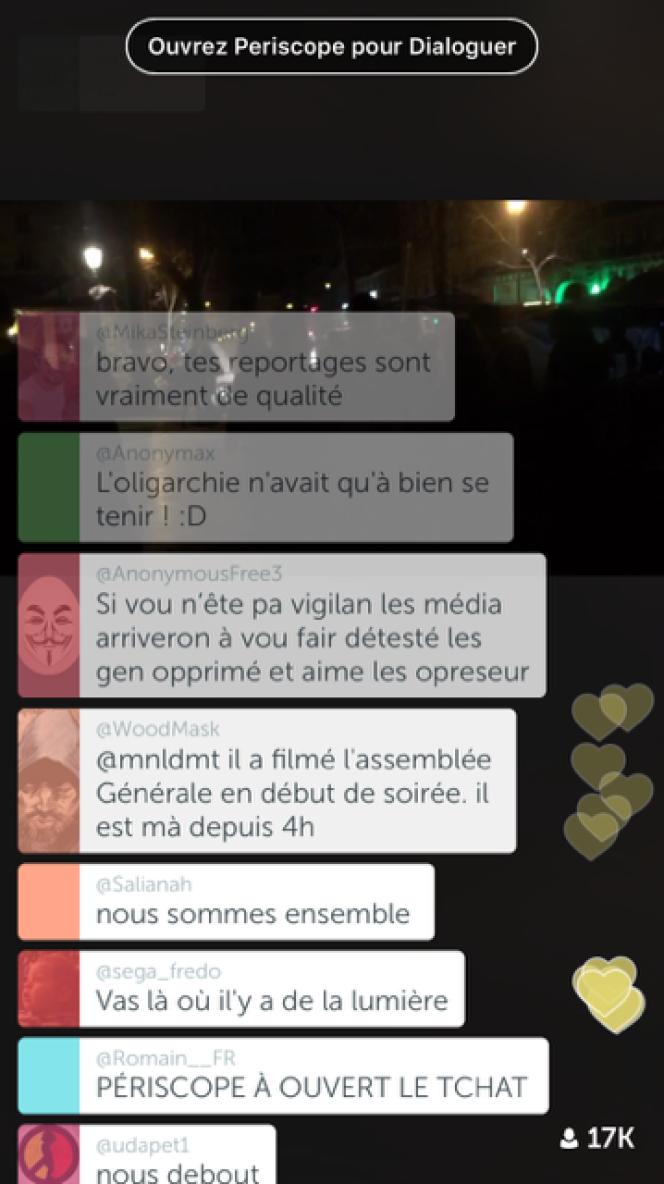 Capture d'écran du live de Rémy Buisine sur l'application Periscope.