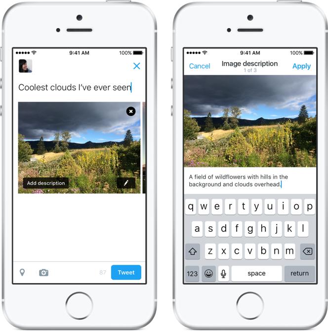 Twitter permet d'ajouter une légende sur toutes les photos que l'on publie.