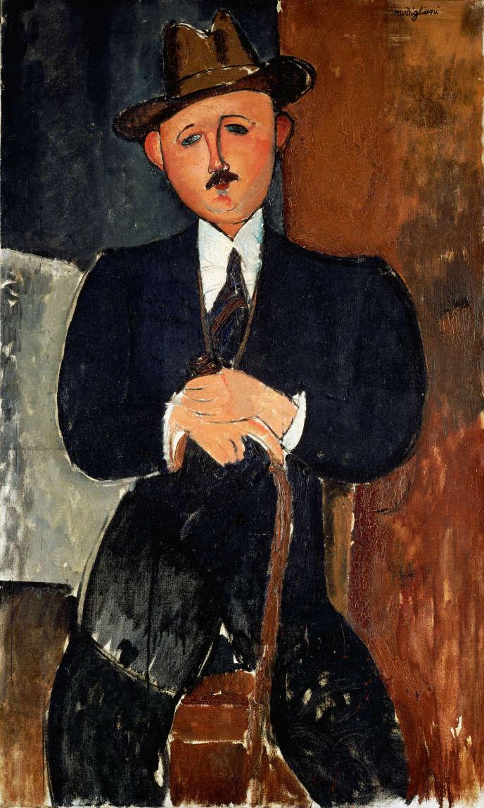 Amedeo Modigliani, «Homme assis (appuyé sur une canne)», 1918. Huile sur toile, 126×75cm.