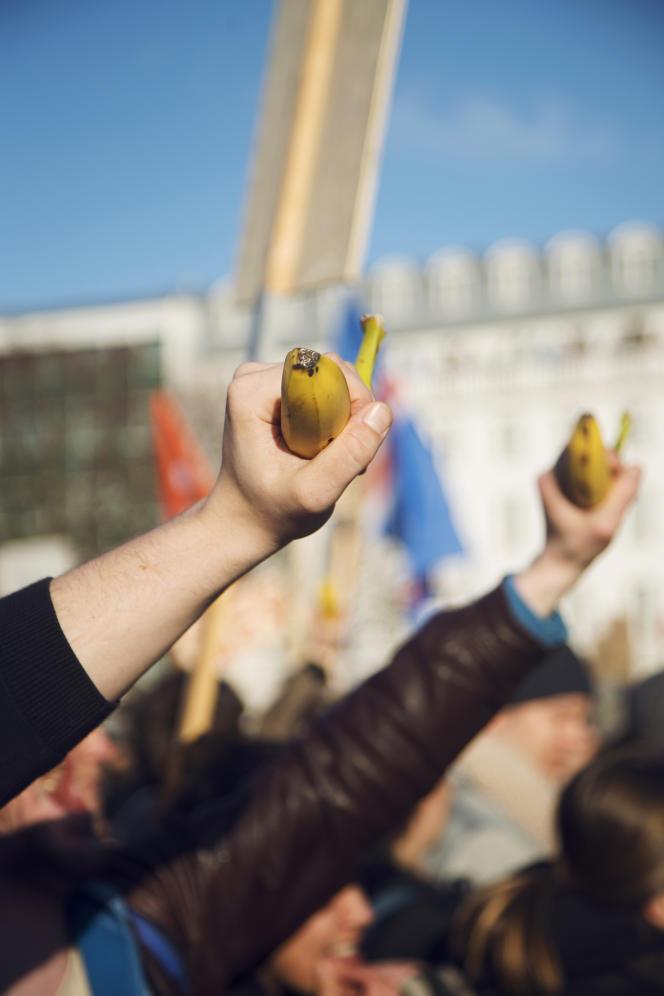 Les manifestants ont brandi des bananes, censées symboliser les dérives des élites politiques islandaises.