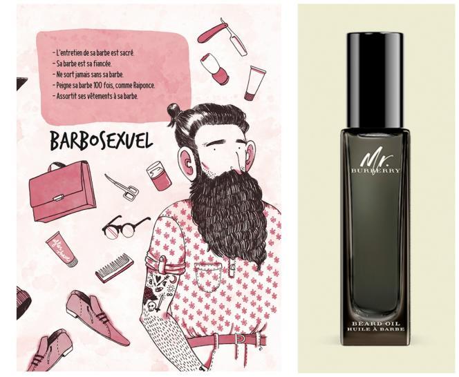 Produits de soin (ici, l'huile de soin Mr. Burberry Beard), boutiques de barbiers, ouvrages consacrés au phénomène comme