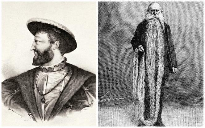 Déjà symbole de virilité au XVIe siècle sous François Ier,  la barbe est longtemps restée un atout. A droite, celle l'ouvrier Louis Coulon, au XIXe siècle, atteignait 3,35 mètres.