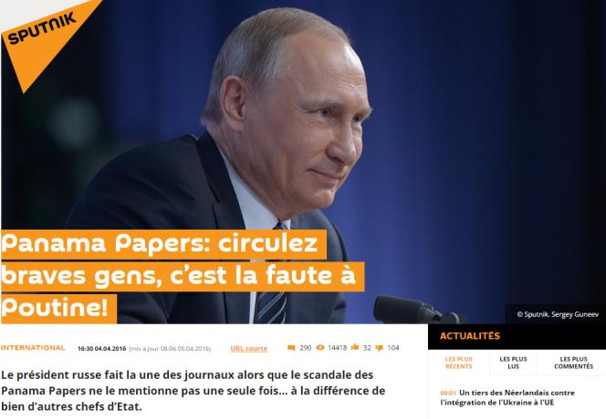 L'article de Sputnik News qui prend la défense de Vladimir Poutine.