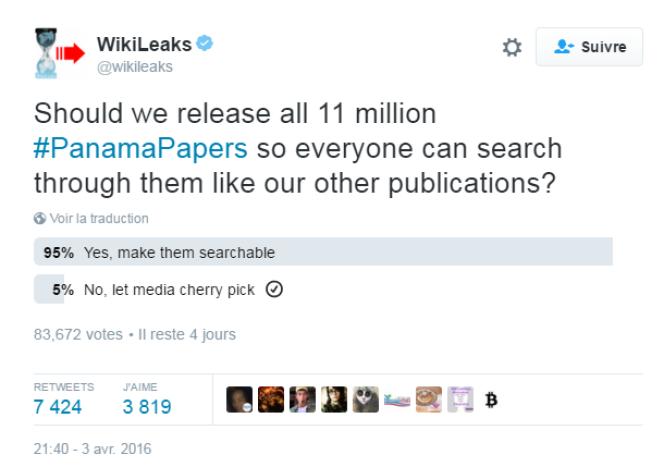 Le sondage mis en ligne par WikiLeaks.