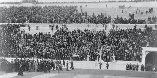 Cérémonie d'ouverture des premiers Jeux olympiques de l'ère moderne, le 6 avril 1896, à Athènes.