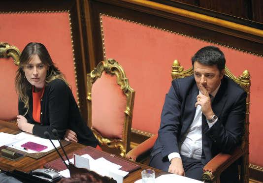 Le premier ministre Matteo Renzi et Maria Elena Boschi, la ministre des réformes, le 20 janvier 2016 au Sénat.