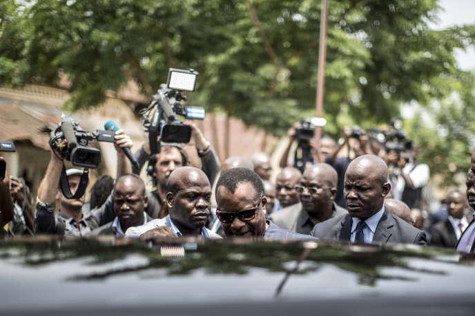 Denis Sassou-Nguesso, au pouvoir depuis trente-deux ans, le jour de la présidentielle congolaise du 20 mars, où il a été réélu dès le premier tour avec 60% des voix.