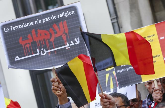 Manifestation de membres de la communauté musulmane de Belgique pour célébrer la mémoire des victimes des attentats, le 9 avril à Bruxelles.