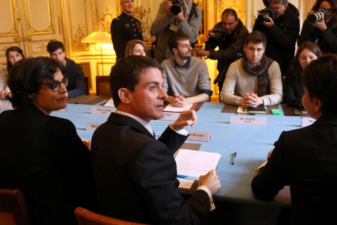 Manuel Valls et Myriam El Khomri ont reçu le 11avril à Matignon des organisations de lycéens et d'étudiants.