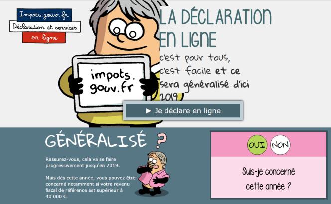 Capture d'éacran du site www.impots.gouv.fr, le 12 avril.