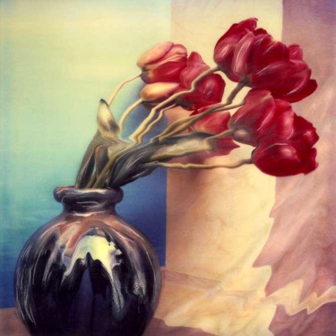 """""""Je voulais créer le mouvement, donner l'idée d'une brise qui viendrait caresser les tulipes."""""""