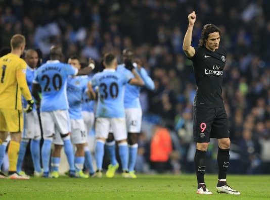 L'attaquant du Paris-Saint-Germain Edinson Cavani, le 13avril lors de la défaite contre Manchester City (2-0) à l'Etihad Stadium.