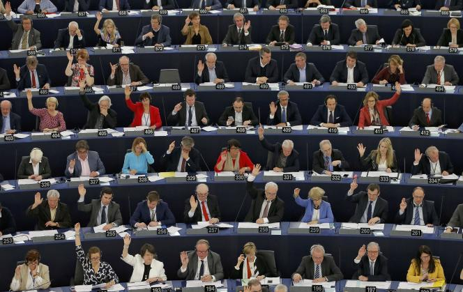 Session du Parlemet européen à Strasbourg, le 12 avril.
