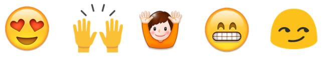 Cinq emojis dont l'interprétation est plus ou moins évidente.