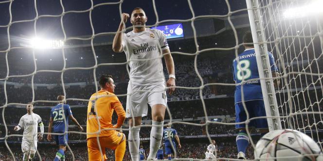 Karim Benzema face à Wolfsburg.