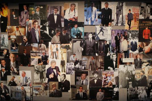 """Une présentation des photos de James Bond sont montrées dans l'exposition """"James Bond 007"""" à la Grande Halle de la Villette à Paris, le 13 april 2016."""