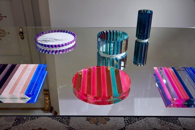 Première collection art de la table en cristal et marbre par Atelier Swarovski Home